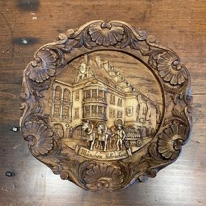 Vintage German Wood Plaque Plate